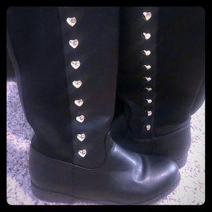 Michael KORS Black Boots Gold Hearts